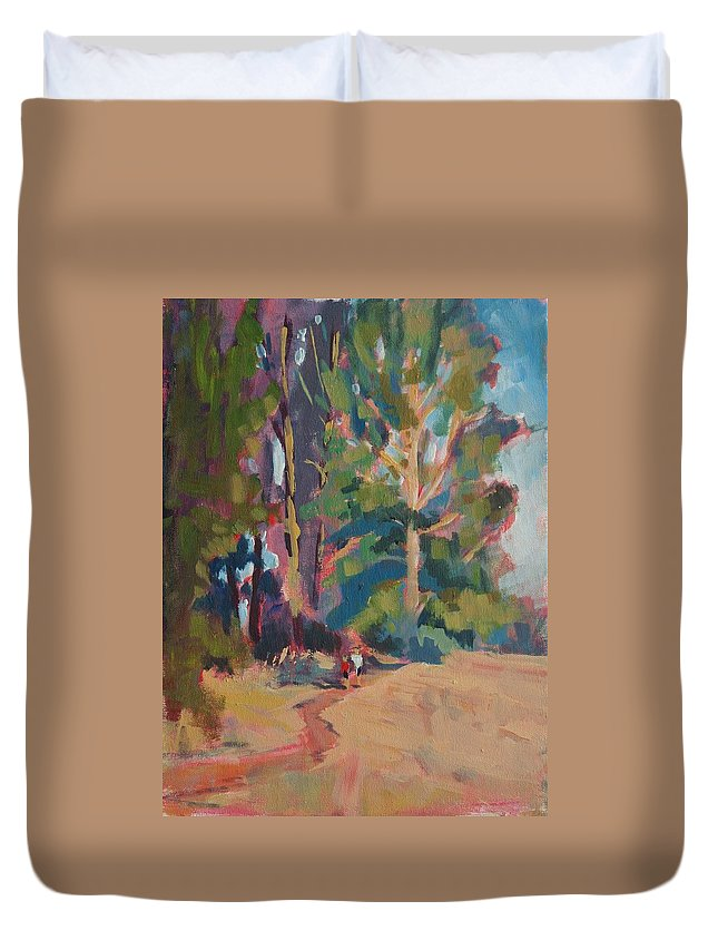 Paths Duvet Cover featuring the painting Evening Walk by Margaret Plumb