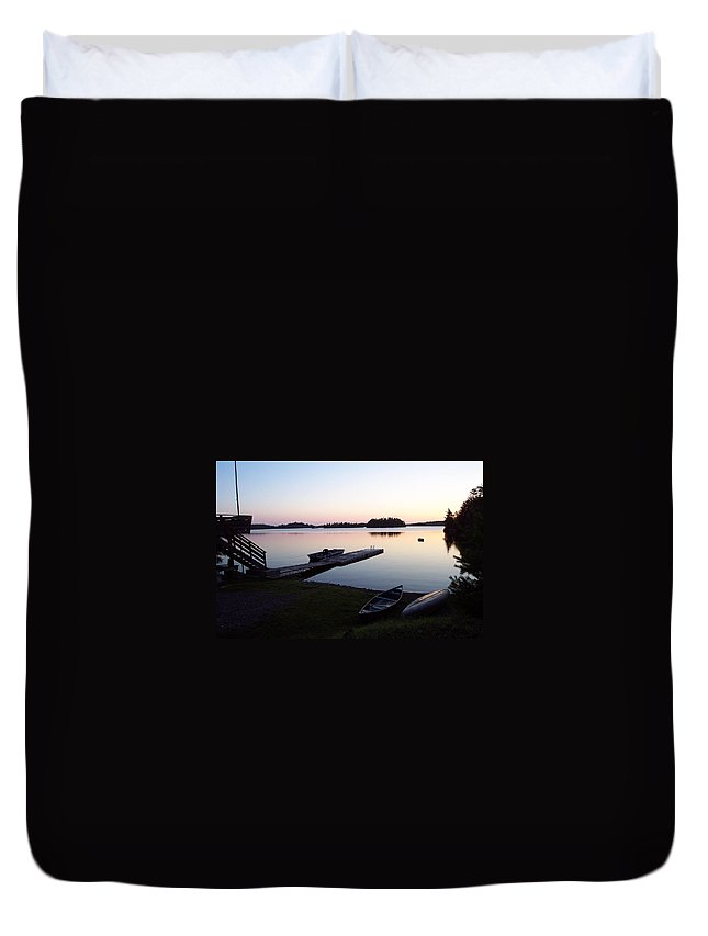 Nature Duvet Cover featuring the photograph Evening Water Bliss by Mary Mikawoz