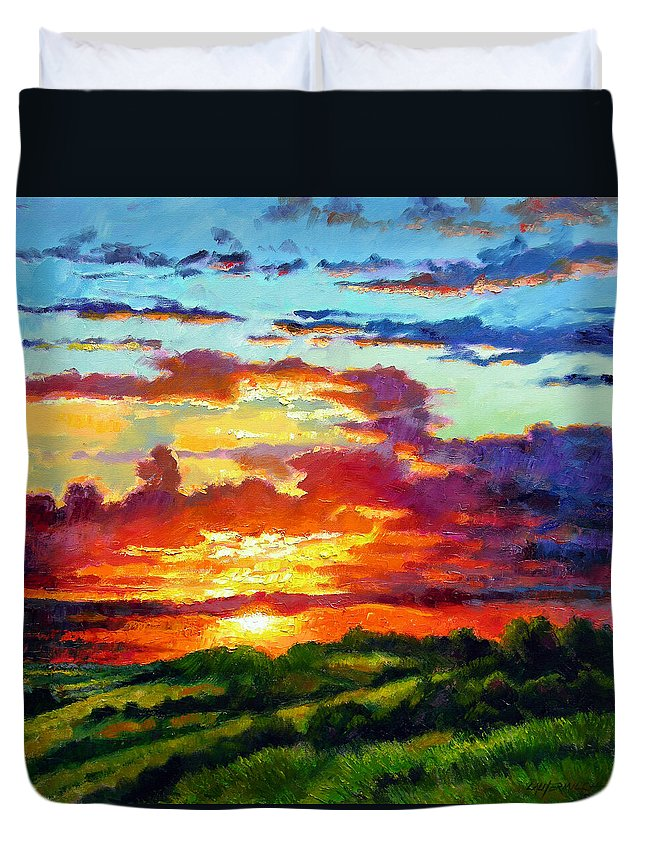 Sunset Duvet Cover featuring the painting Evenings Final Glow by John Lautermilch