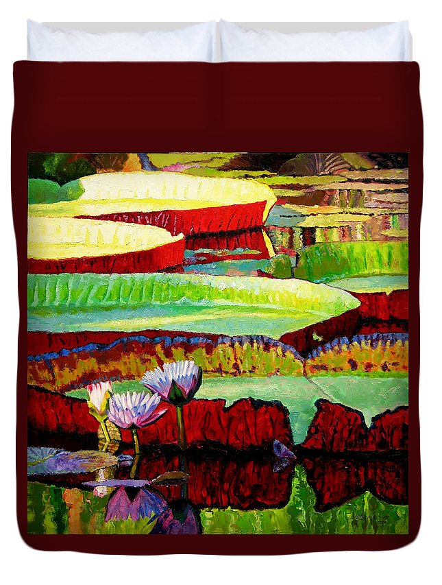 Water Lilies Duvet Cover featuring the painting Ever Changing Colors by John Lautermilch