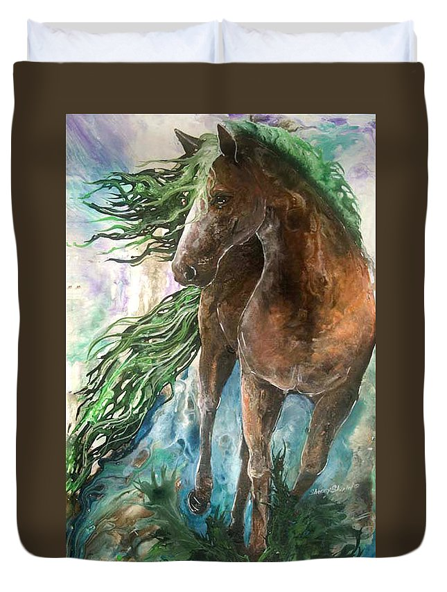 Horse Duvet Cover featuring the painting Ever Green Earth Horse by Sherry Shipley