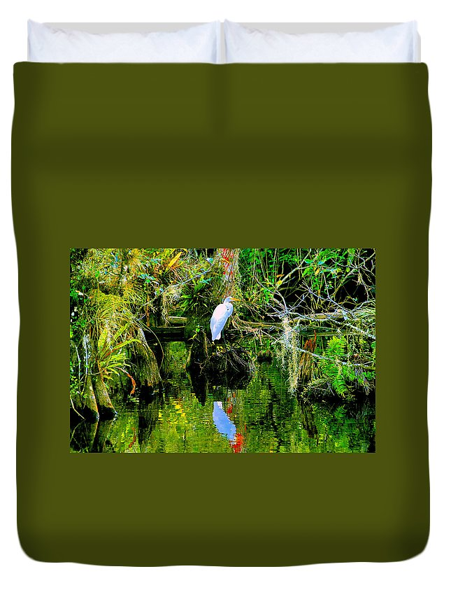 Everglades Duvet Cover featuring the painting Everglades Egret by David Lee Thompson