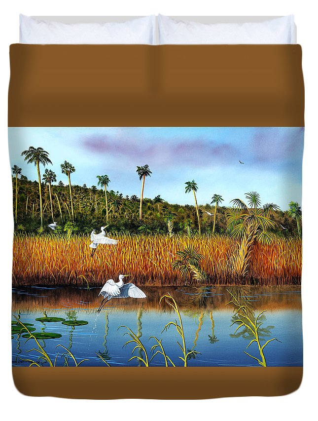 Landscape Duvet Cover featuring the painting Everglades Sanctuary by Don Griffiths