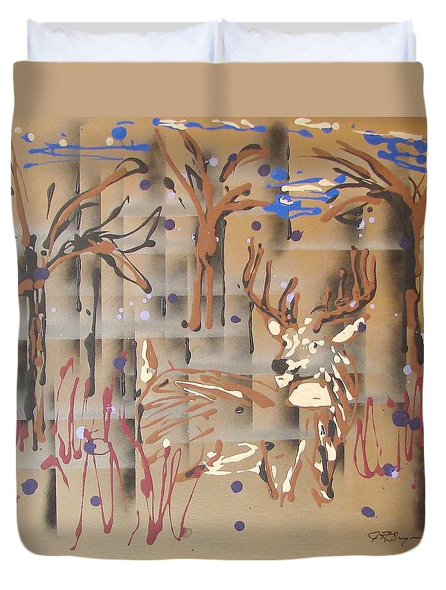 Buck In Tree Line Duvet Cover featuring the painting Everwatchful by J R Seymour