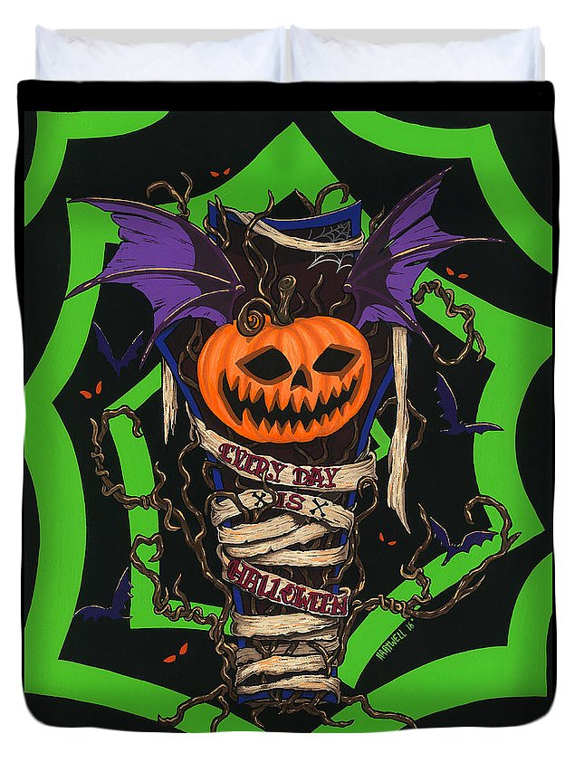 Halloween Duvet Cover featuring the painting Every Day Is Halloween by Steve Hartwell