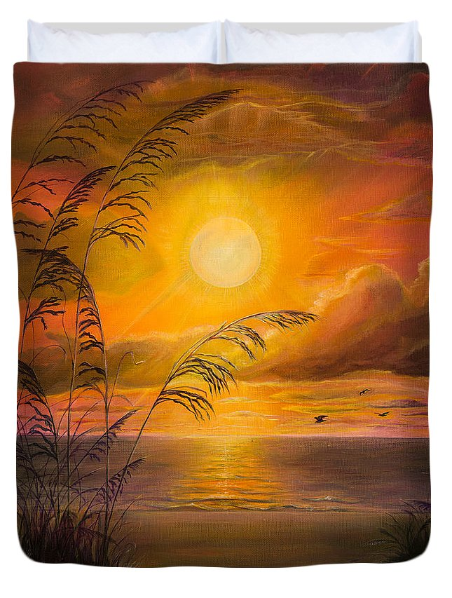 Sunrise Duvet Cover featuring the painting Everyday Sunrise by Zina Stromberg