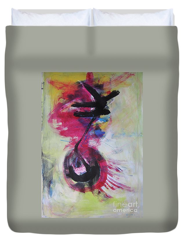 Abstract Paintings Red Paintings Duvet Cover featuring the painting Everything A Mistake-abstract Red Painting by Seon-Jeong Kim