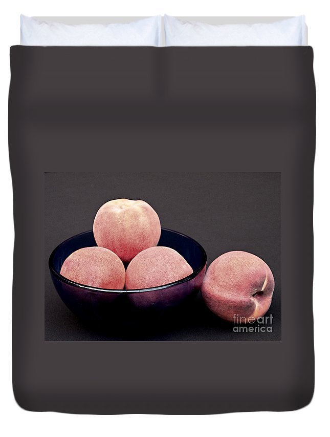 Peach Duvet Cover featuring the photograph Everything Is Just Peachy by Sherry Hallemeier