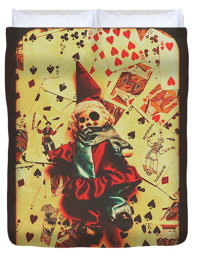 Doll Duvet Cover featuring the photograph Evil Clown Doll On Playing Cards by Jorgo Photography - Wall Art Gallery