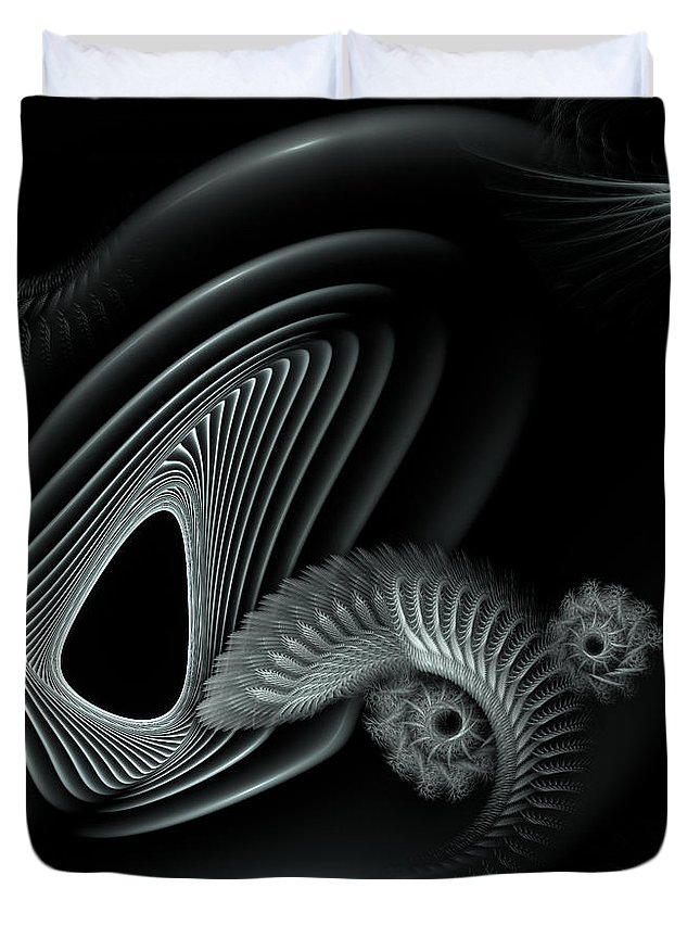 Abstract Duvet Cover featuring the digital art Evincing Insatiability by Casey Kotas