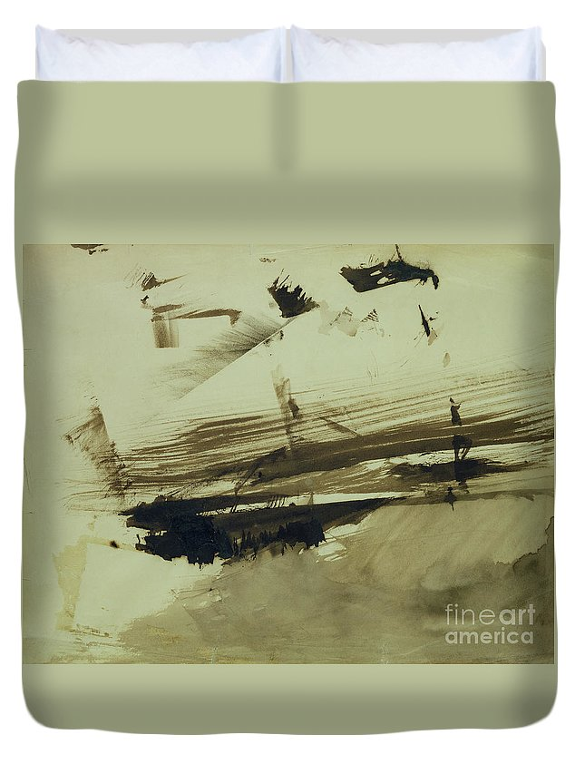 Ink And Wash On Paper Duvet Cover featuring the painting Evocation Of An Island by Victor Hugo