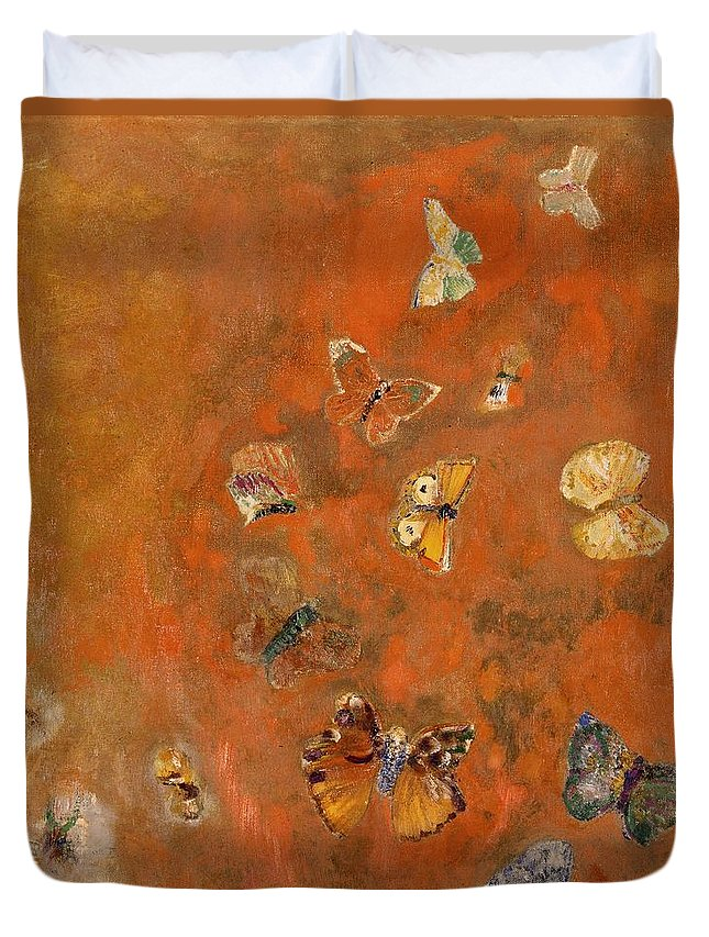 Evocation Duvet Cover featuring the painting Evocation Of Butterflies by Odilon Redon