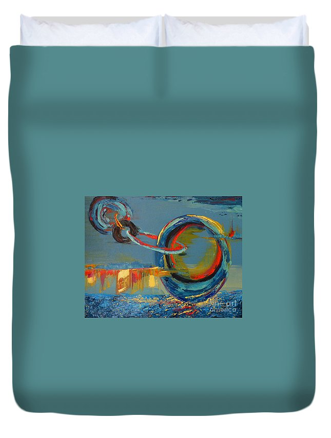 Abstract Painting Duvet Cover featuring the painting Evolving Sense by Patricia Awapara