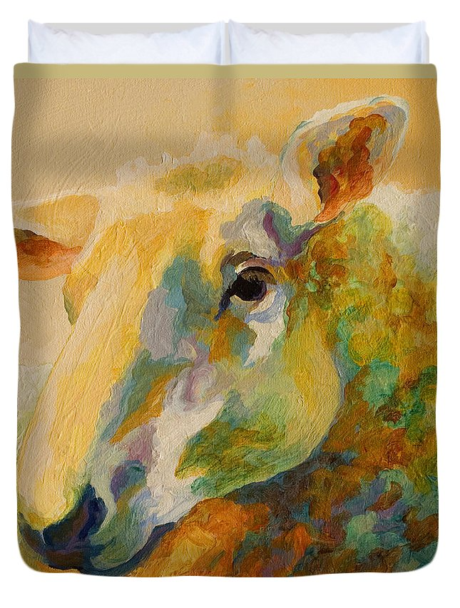 Llama Duvet Cover featuring the painting Ewe Portrait IIi by Marion Rose