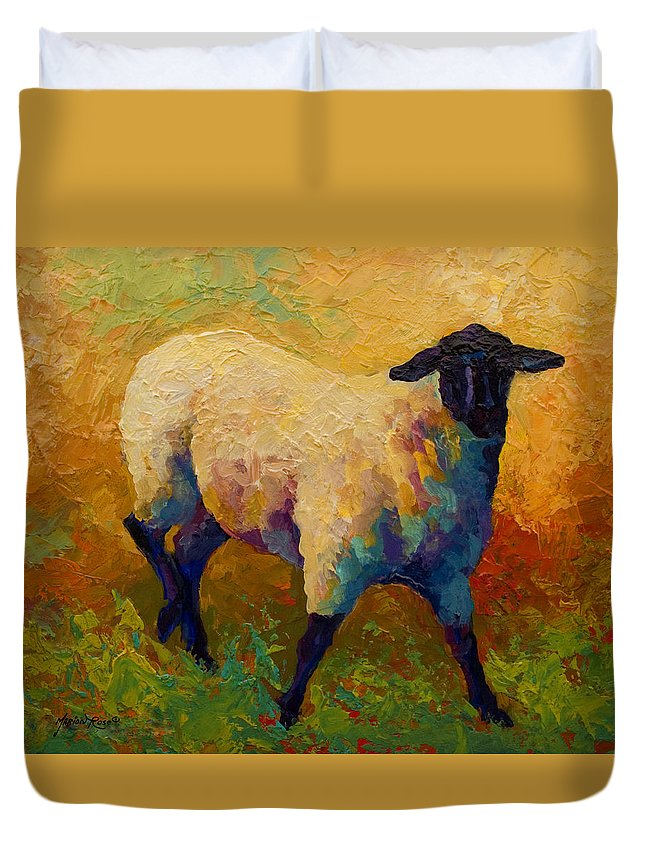 Sheep Duvet Cover featuring the painting Ewe Portrait Iv by Marion Rose