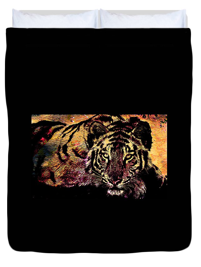 Tiger Duvet Cover featuring the mixed media Exalted Beauty by Catherine Harms