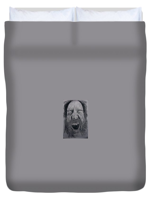 Portrait Duvet Cover featuring the painting Exasperation by Fatima Faisal Qureshi