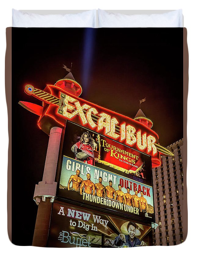Excalibur Casino Sign Duvet Cover featuring the photograph Excalibur Casino Sign Night by Aloha Art