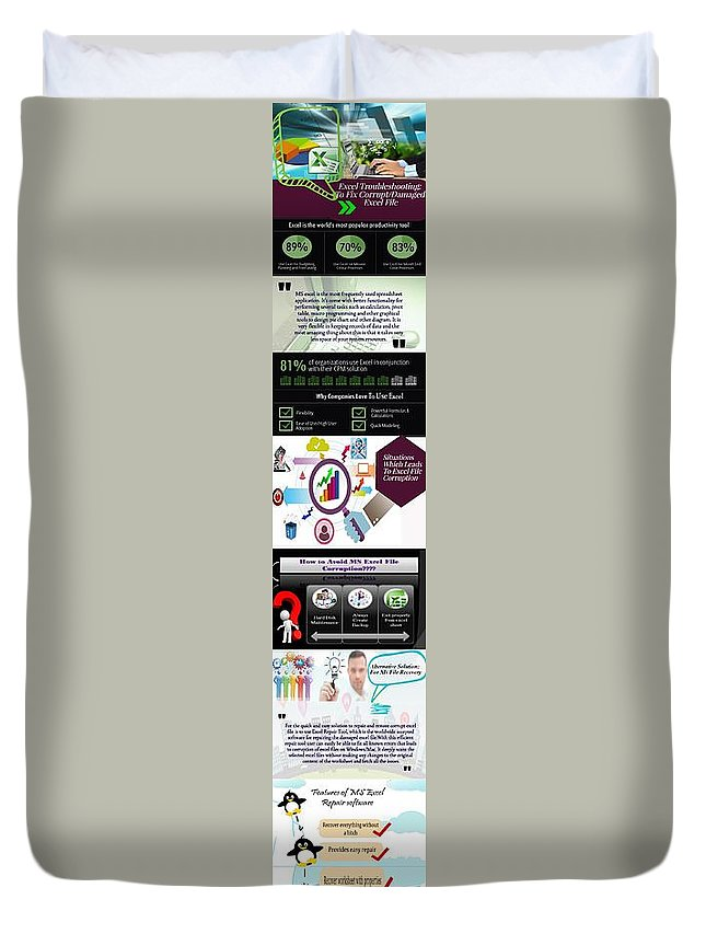 Excel Troubleshooting Duvet Cover featuring the digital art Excel Troubleshooting To Fix Corrupt/damaged Excel File by Alice Jolly