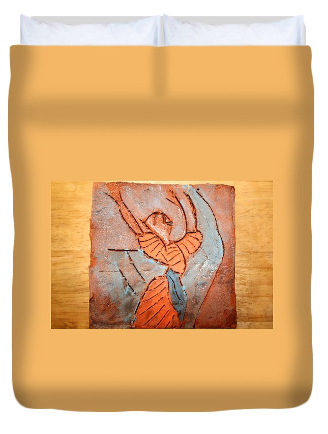 Jesus Duvet Cover featuring the ceramic art Exclaim - Tile by Gloria Ssali
