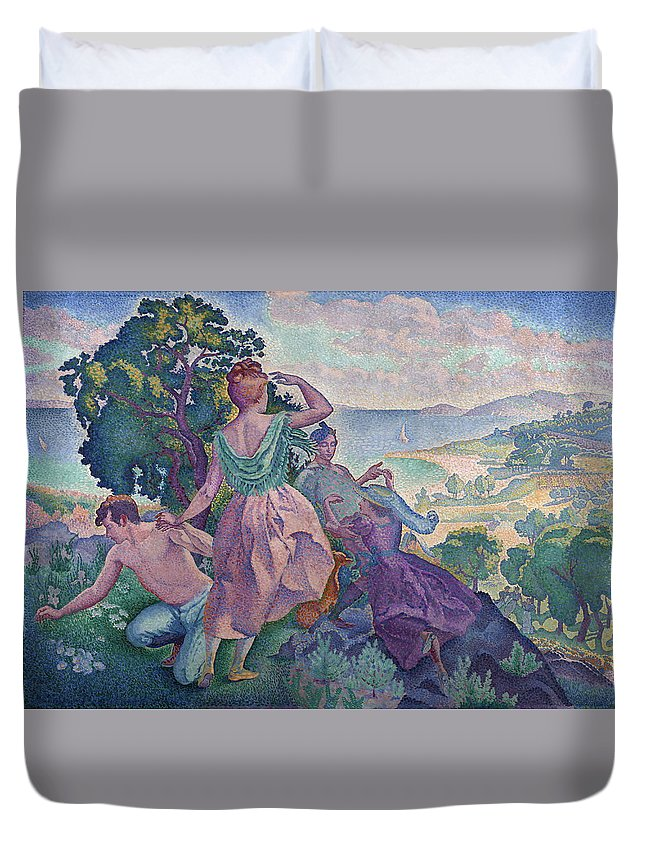 France Duvet Cover featuring the painting Excursion by Henri Edmond Cross