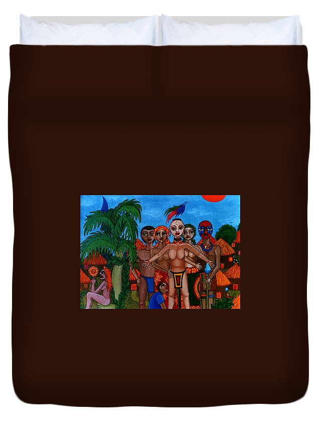Homeland Duvet Cover featuring the painting Exiled In Homeland by Madalena Lobao-Tello