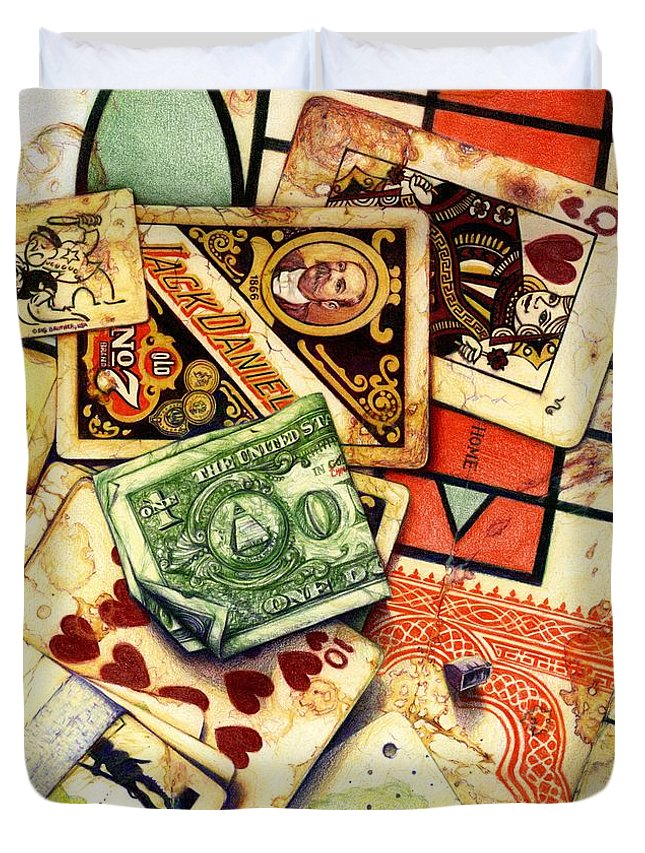 Prestine Drawing Painting Deck Of Cards Government Slaughter Miniature Statue American President National Museum Stamp Bow Down Worship China Communist Dictator Mao Slight Alterations Currency Story Deceit And Plunder Number Idiosyncrasies' Piece Different Twist Duvet Cover featuring the drawing Exit Strategy by Daniel Ragsdale Combs