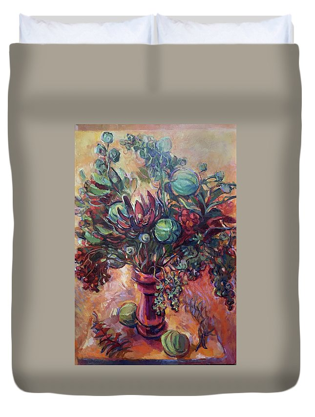 Floral Still Life Painting Duvet Cover featuring the painting Exotic Bouquet by Abbie Rabinowitz