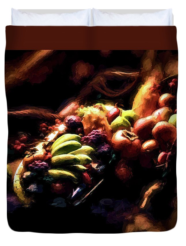 Fruit Duvet Cover featuring the photograph Exotic Fruit Platter by Peter Hogg