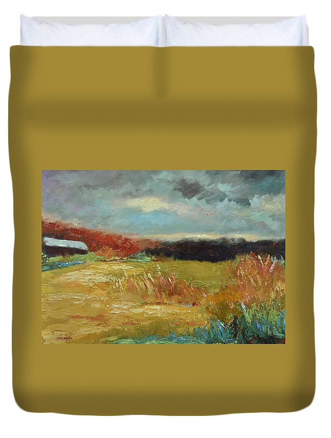 Stormy Landscapes Duvet Cover featuring the painting Expecting a Storm by Ginger Concepcion