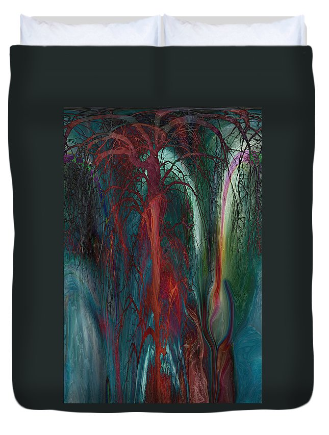 Abstracts Duvet Cover featuring the digital art Experimental Tree by Linda Sannuti