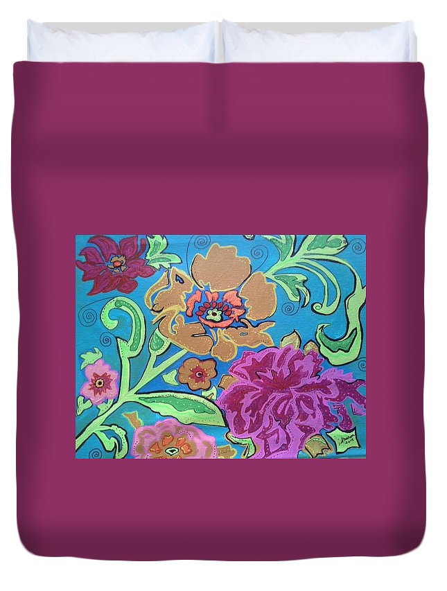Flowers Duvet Cover featuring the painting Exploring Blooms by Sharon Davis