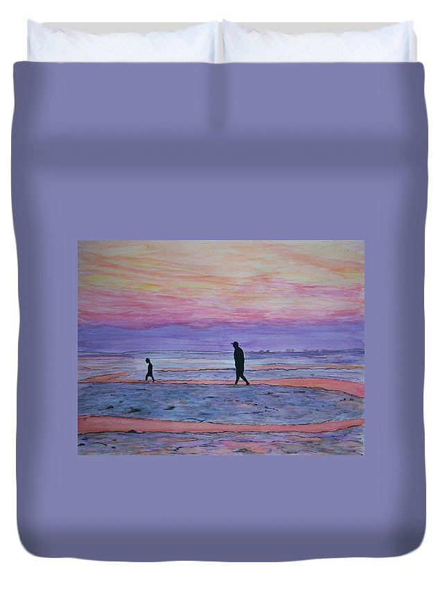 Twilight Duvet Cover featuring the painting Exploring by Nancy Nuce