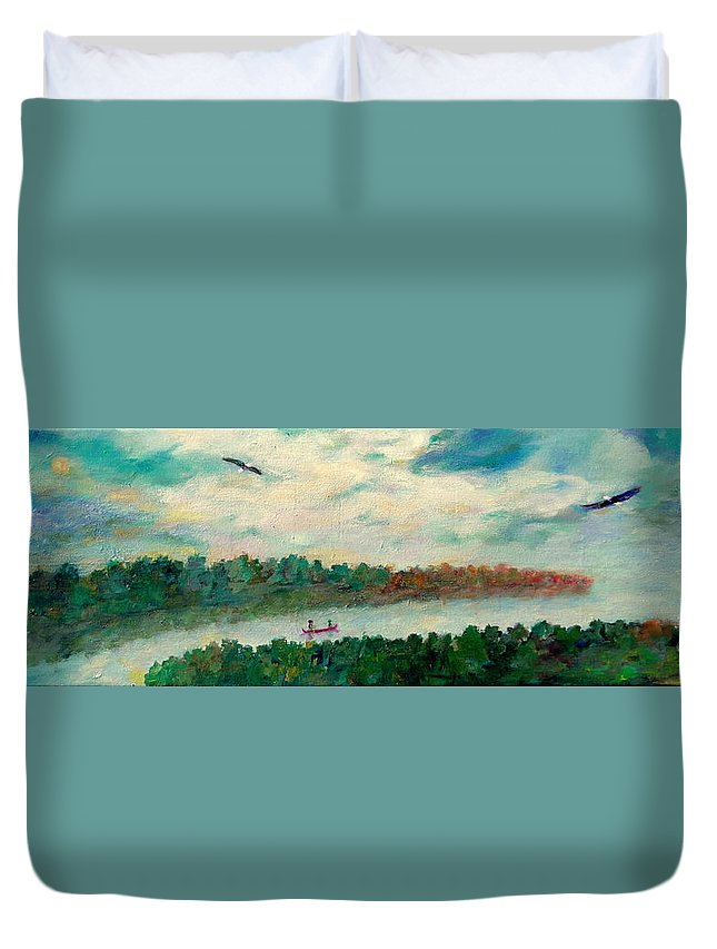 Canoeing On The Big Canadian Lakes Duvet Cover featuring the painting Exploring Our Lake by Naomi Gerrard