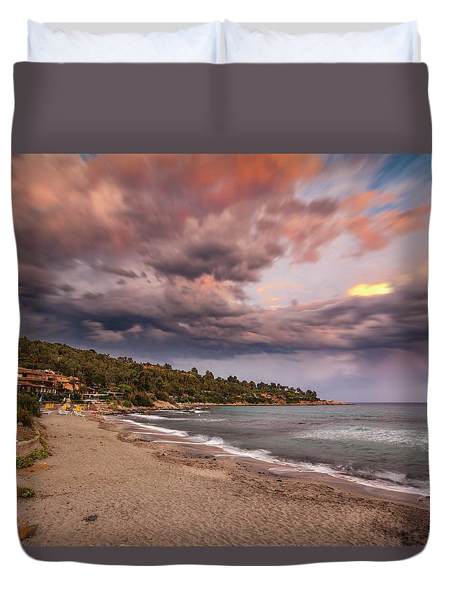 Scenery Duvet Cover featuring the photograph Explosion Of Colored Clouds by Daniele Fanni