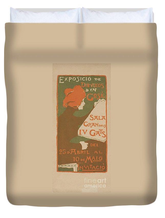 Gose Rovira Duvet Cover featuring the painting Exposicio De Dibuixos Den Gose by MotionAge Designs