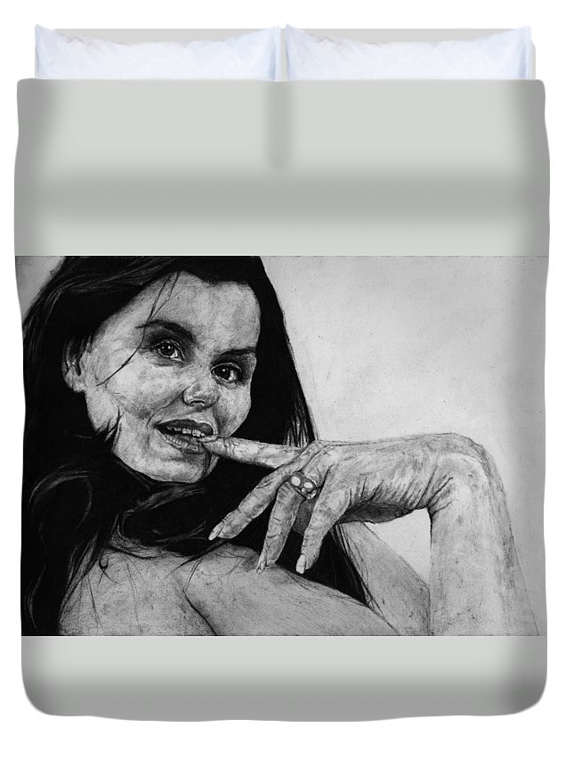Expression Woman Charcoal Life Naked Beautiful Female Grayscale Flower Lady Beautiful Duvet Cover featuring the drawing Entice by Priscilla Vogelbacher