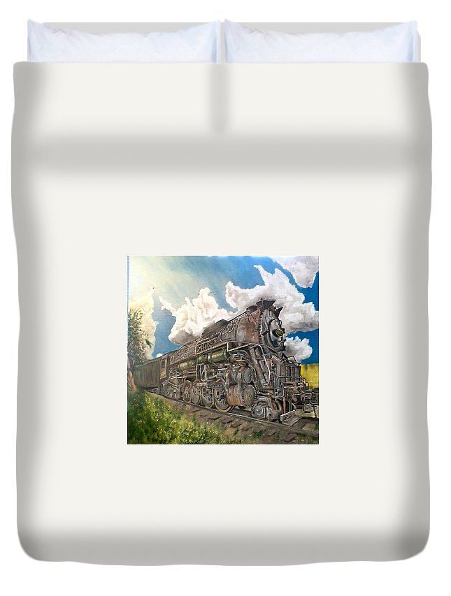 Landscape Duvet Cover featuring the painting Extinct Potential by Lee Stoll