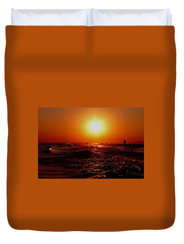 Beach Duvet Cover featuring the photograph Extreme Blazing Sun by Kendall Eutemey