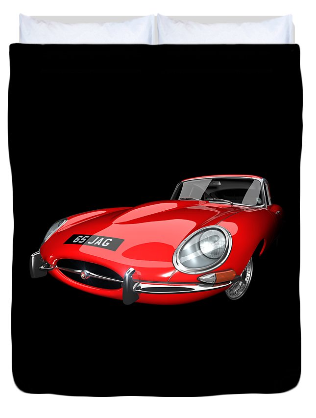 E-type Duvet Cover featuring the digital art Extreme E Red by Dan Lennard