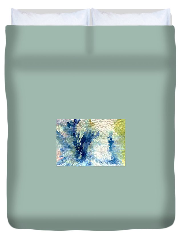 Abstract Duvet Cover featuring the painting Extrude by Steve Karol