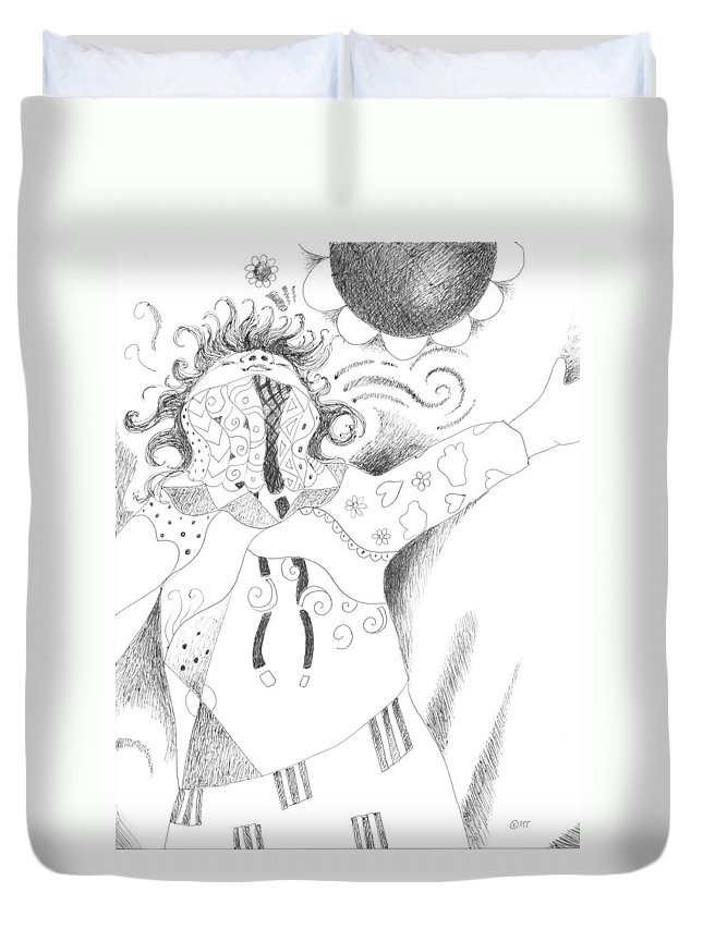 Spirited Duvet Cover featuring the drawing Exuberance by Helena Tiainen