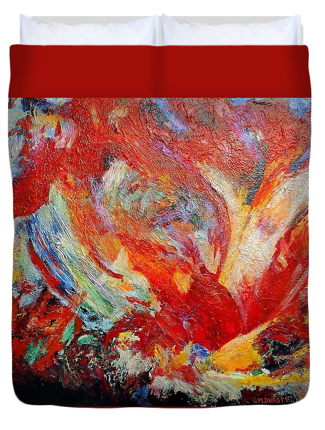 Abstract Duvet Cover featuring the painting Exuberance by Michael Durst