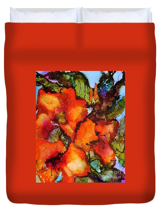 Orange Duvet Cover featuring the painting Exuberance by Susan Kubes