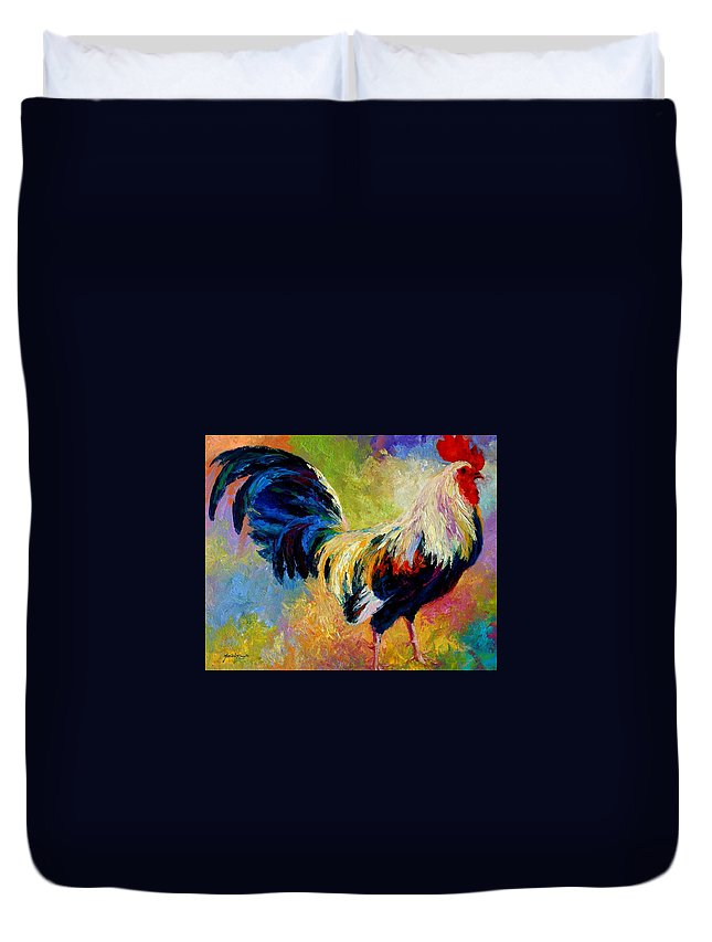 Rooster Duvet Cover featuring the painting Eye Candy by Marion Rose