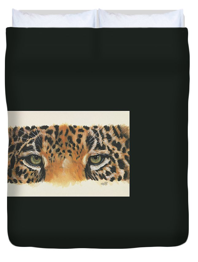 Jaguar Duvet Cover featuring the painting Eye-catching Jaguar by Barbara Keith