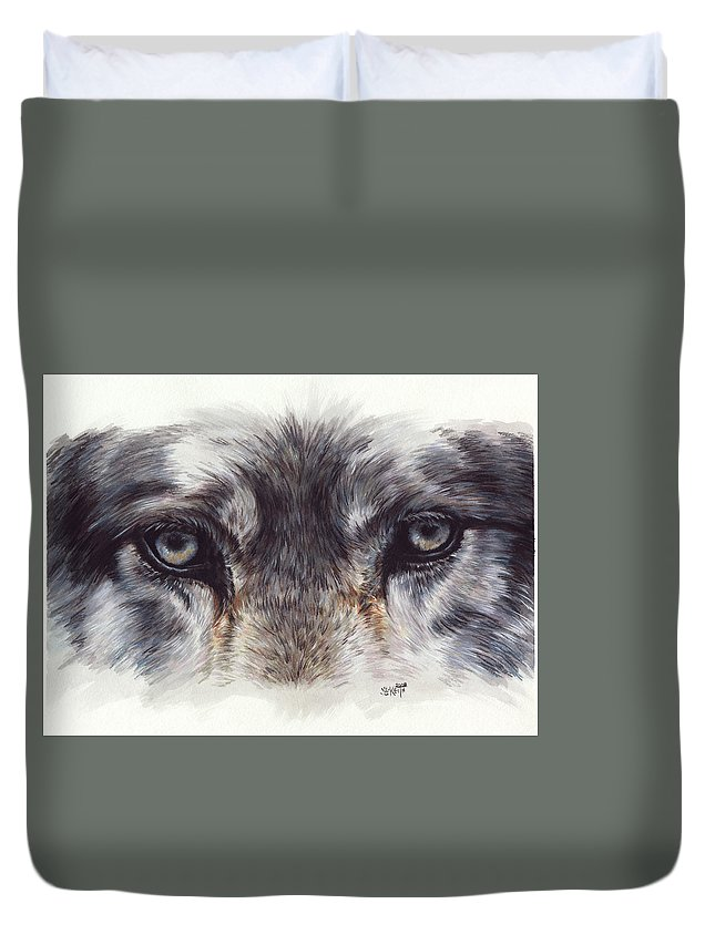 Wolf Duvet Cover featuring the painting Eye-catching Wolf by Barbara Keith