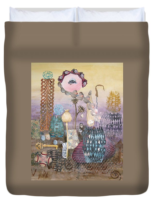 Abstract Duvet Cover featuring the painting Eye Has It by Valerie Meotti