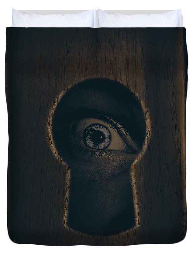 Keyhole Duvet Cover featuring the photograph Eye Looking Through Door Keyhole by Jorgo Photography - Wall Art Gallery