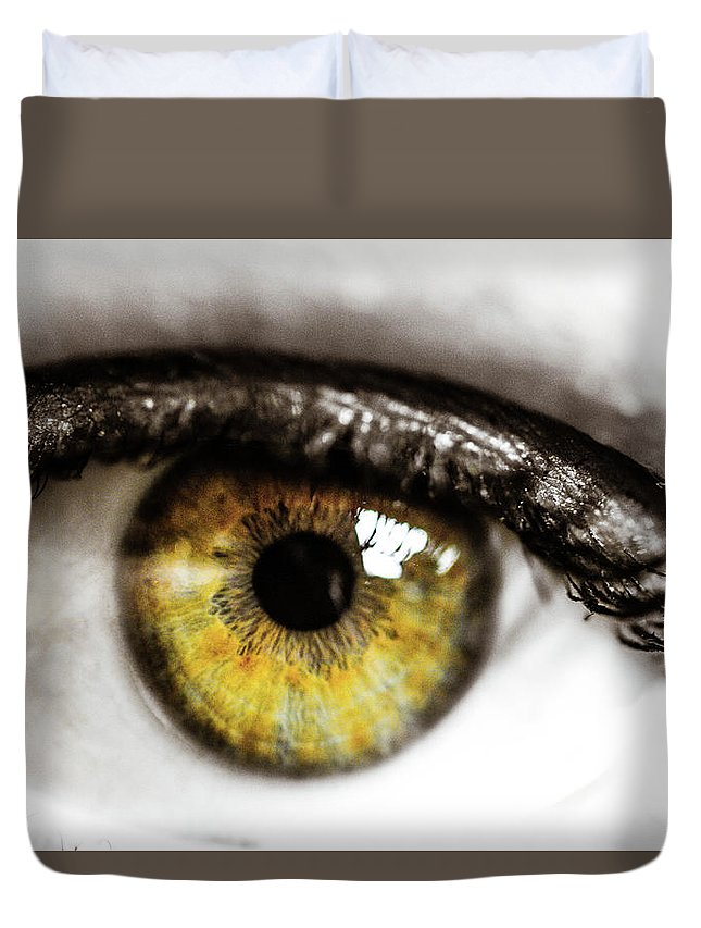 Eye Duvet Cover featuring the photograph Eye Macro3 by Danielle Silveira